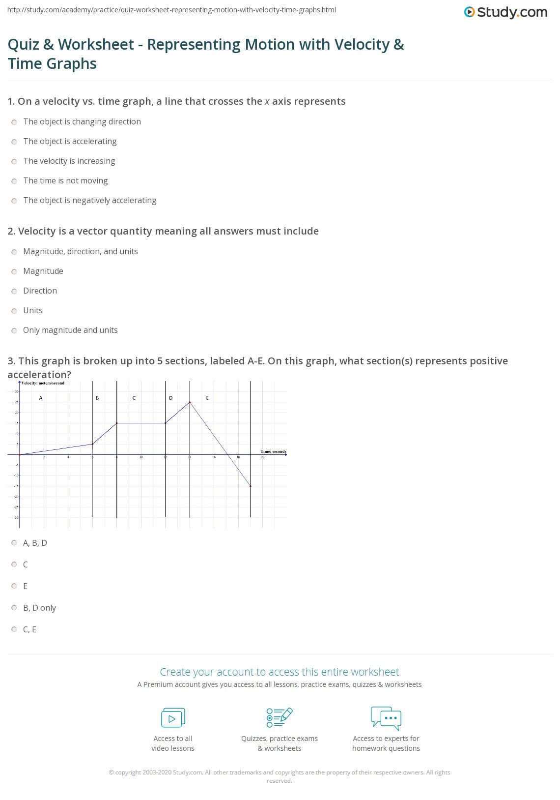 Kinematics Worksheet with Answers