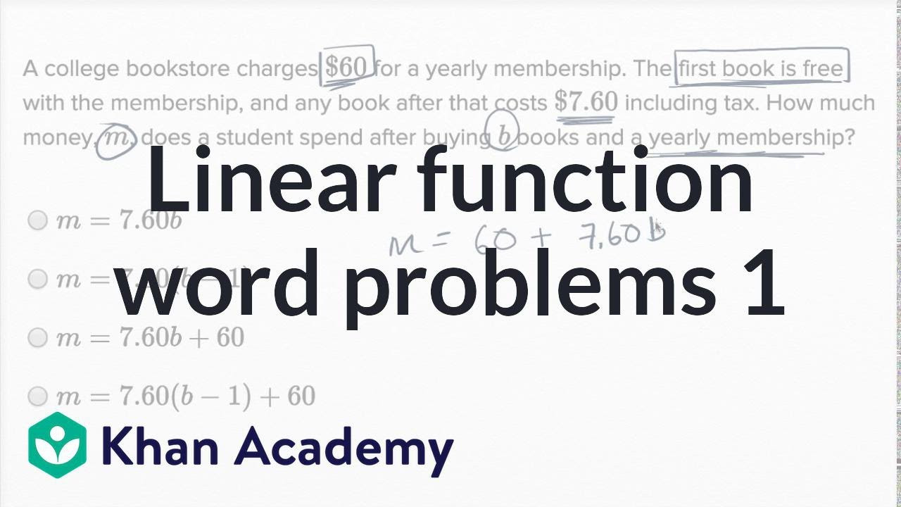 Linear Function Word Problems examples solutions