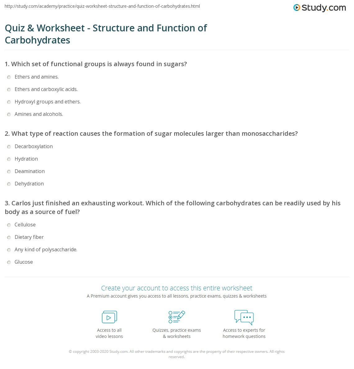 Macromolecules Worksheet 2 Answers