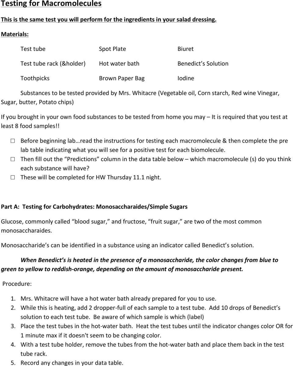Macromolecules Worksheet Answer Key