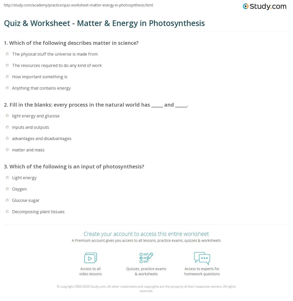 Matter and Energy Worksheet