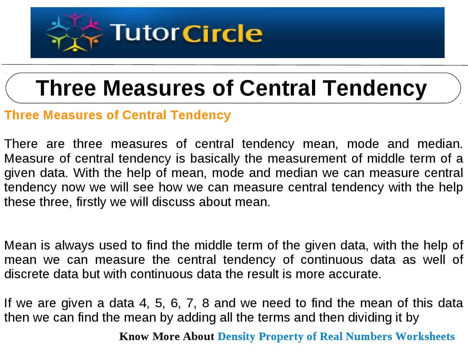 Measure Of Central Tendency Worksheet