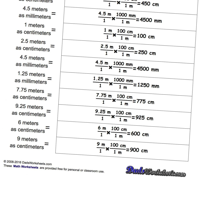 Metric Conversion Worksheet 1