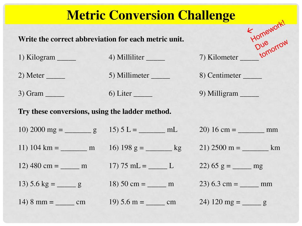 Metric Mania Worksheet Answers
