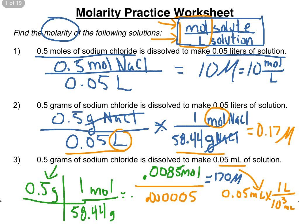 Molarity practice worksheet 1 3