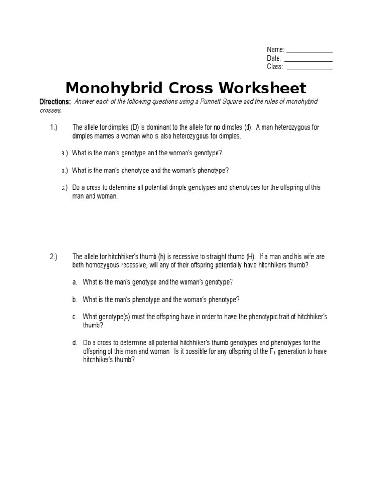 Monohybrid Cross Worksheet Dominance Genetics