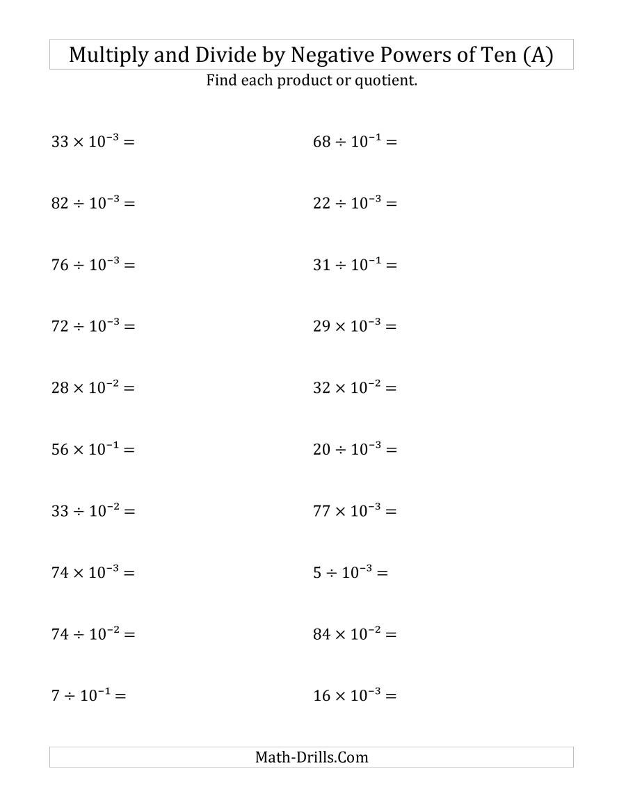Multiplying and Dividing Integers Worksheet