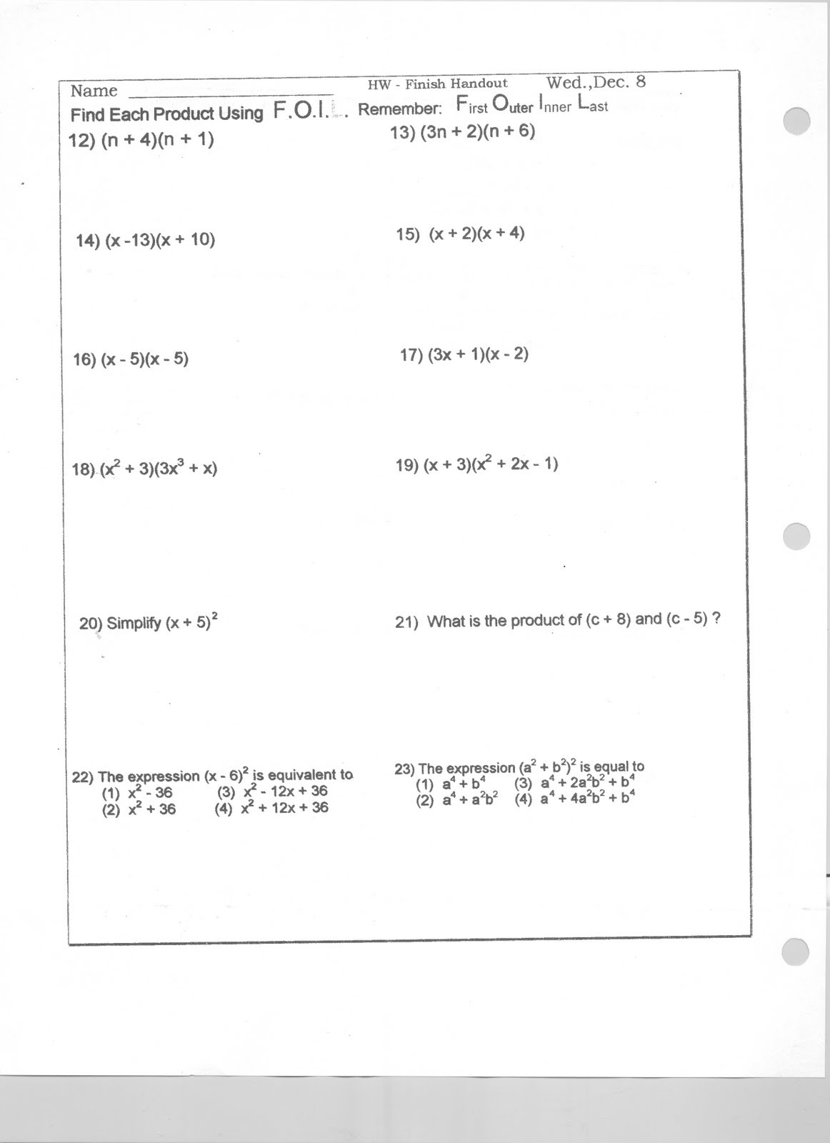 Multiplying Monomials Worksheet Answers