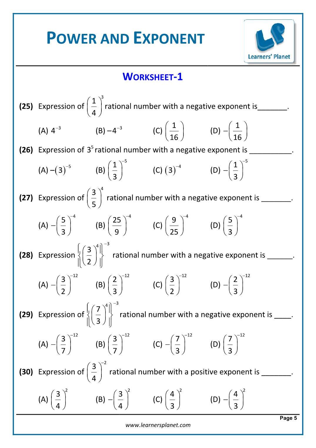 Multiplying Negative Numbers Worksheet