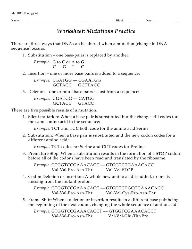 Mutations Worksheet Answer Key