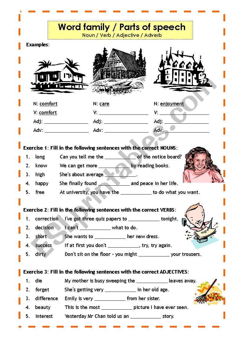 Nouns Verbs Adjectives Worksheet