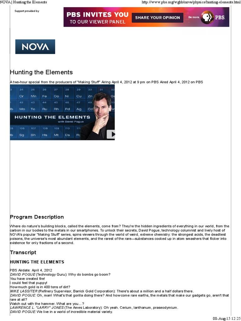 Nova Hunting the Elements Worksheet