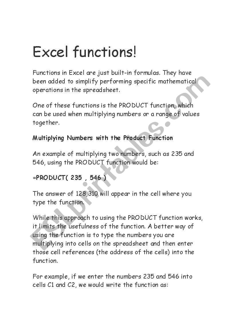Operations with Functions Worksheet