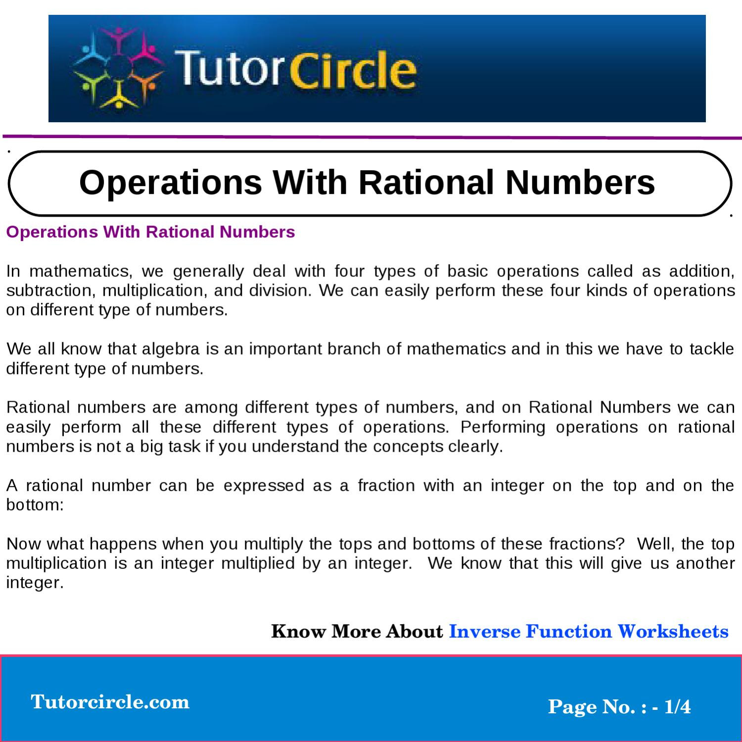 Operations with Rational Numbers Worksheet