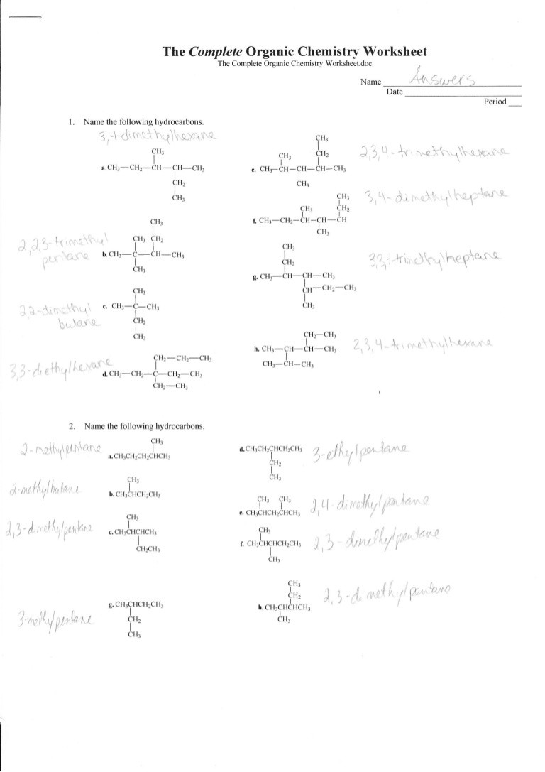 plete organic chemistry worksheet answers