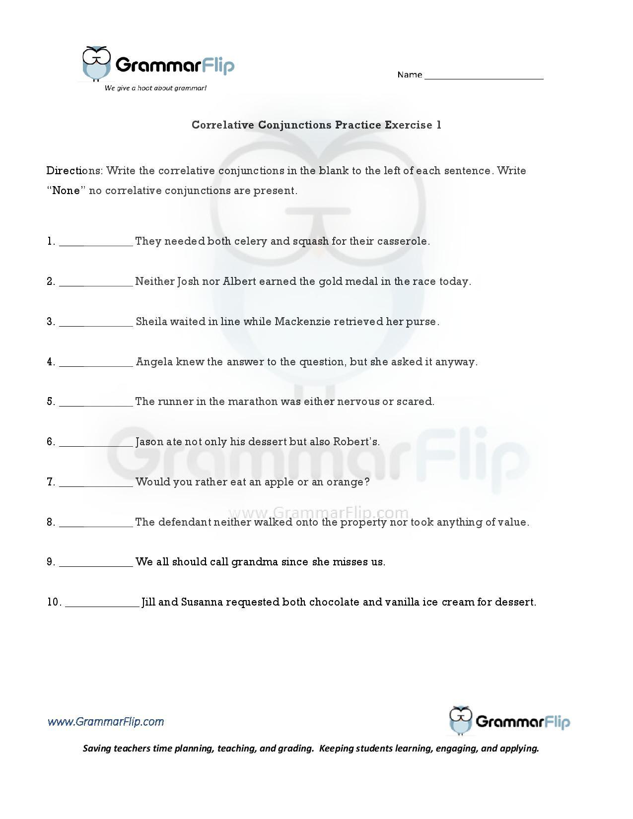 Parts Of A Sentence Worksheet