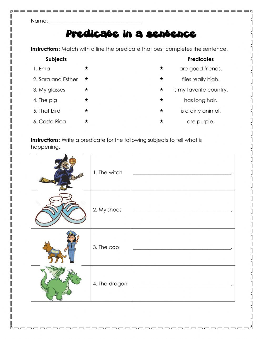 Parts Of A Sentence Worksheet