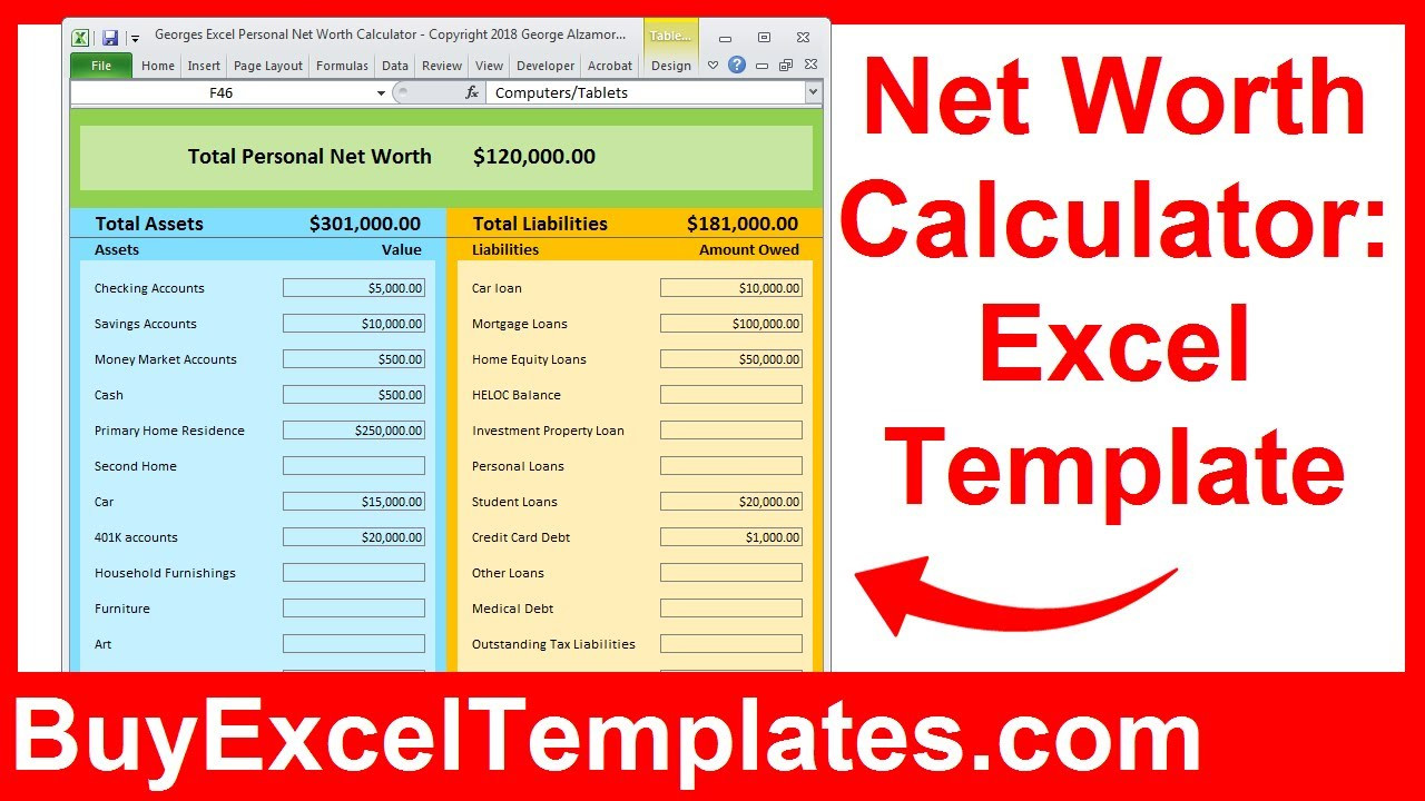 Net Worth Calculator Excel Spreadsheet How to calculate personal net worth in Excel template