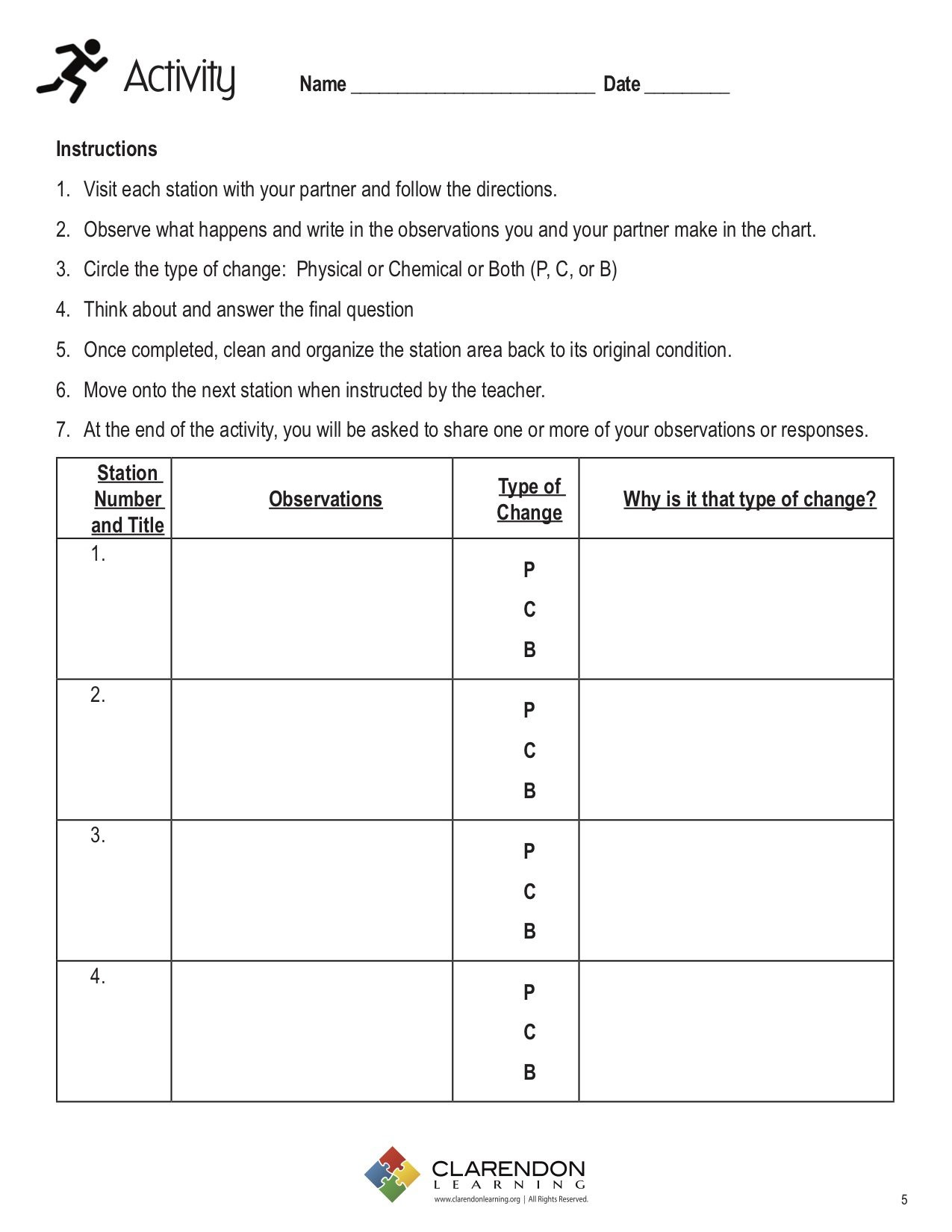 Physical and Chemical Changes Worksheet