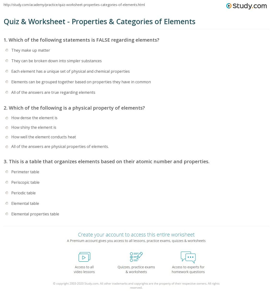 Physical Vs Chemical Properties Worksheet