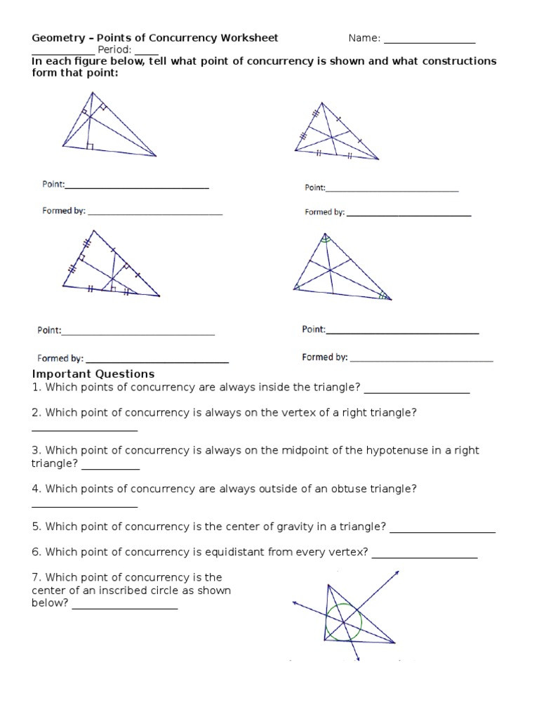 Points Of Concurrency Worksheet