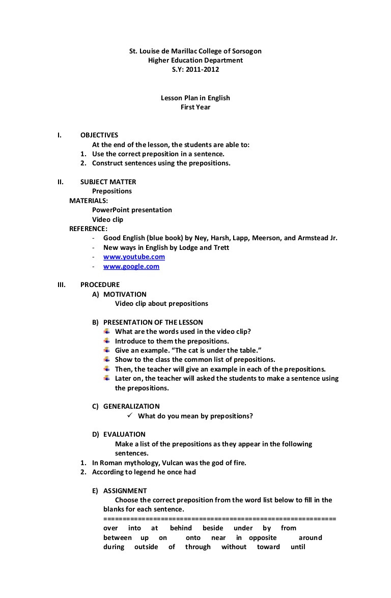 Prepositional Phrase Worksheet with Answers