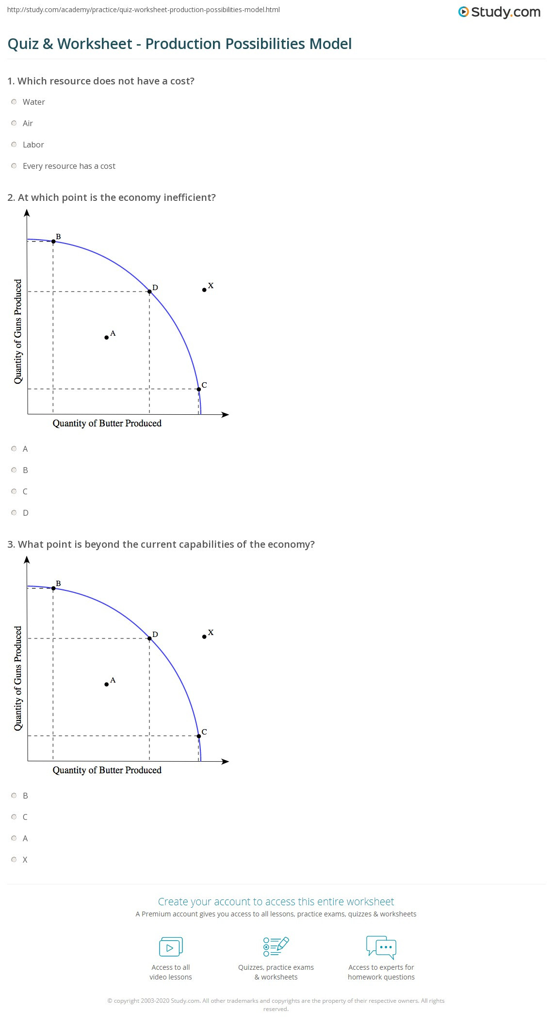 Production Possibilities Curve Worksheet Answers