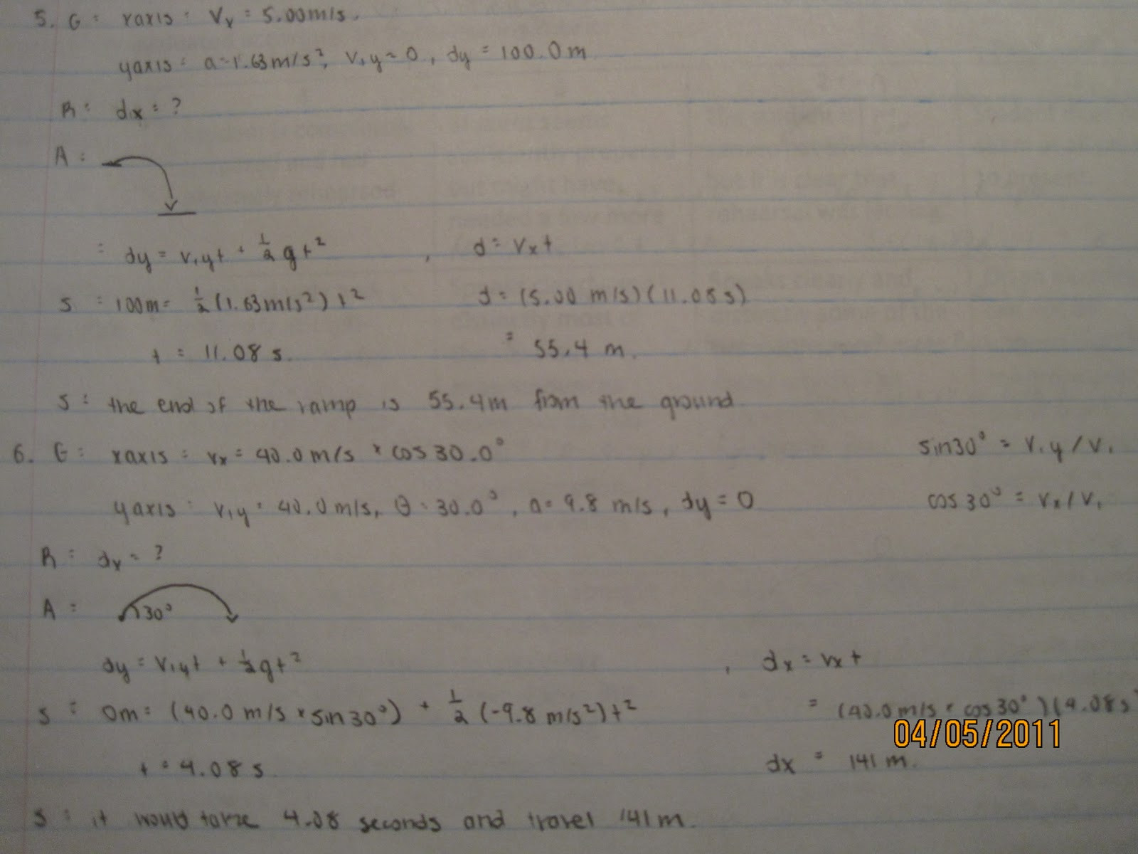 Projectile Motion Worksheet Answers | Education Template