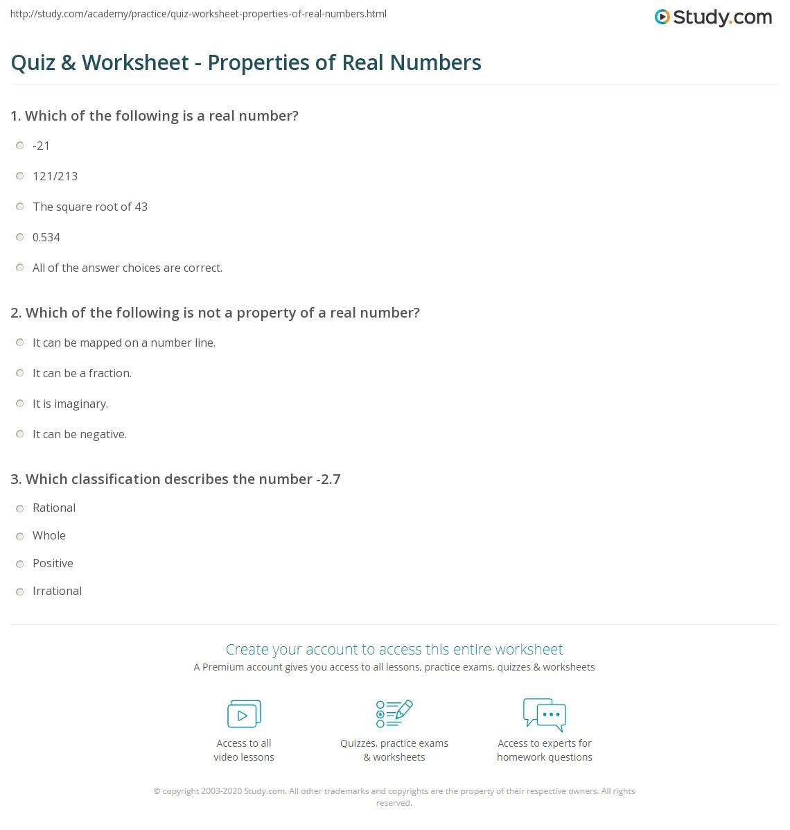 Quiz & Worksheet Properties of Real Numbers