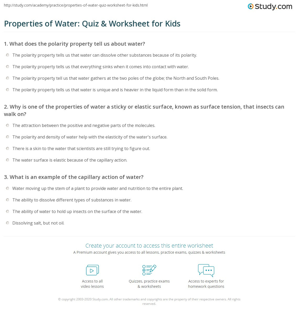 Properties of Water Quiz & Worksheet for Kids