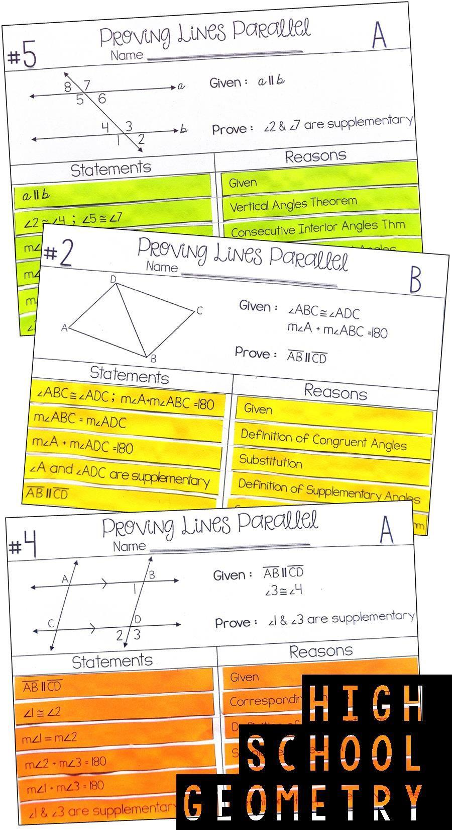 Proving Lines Parallel Worksheet