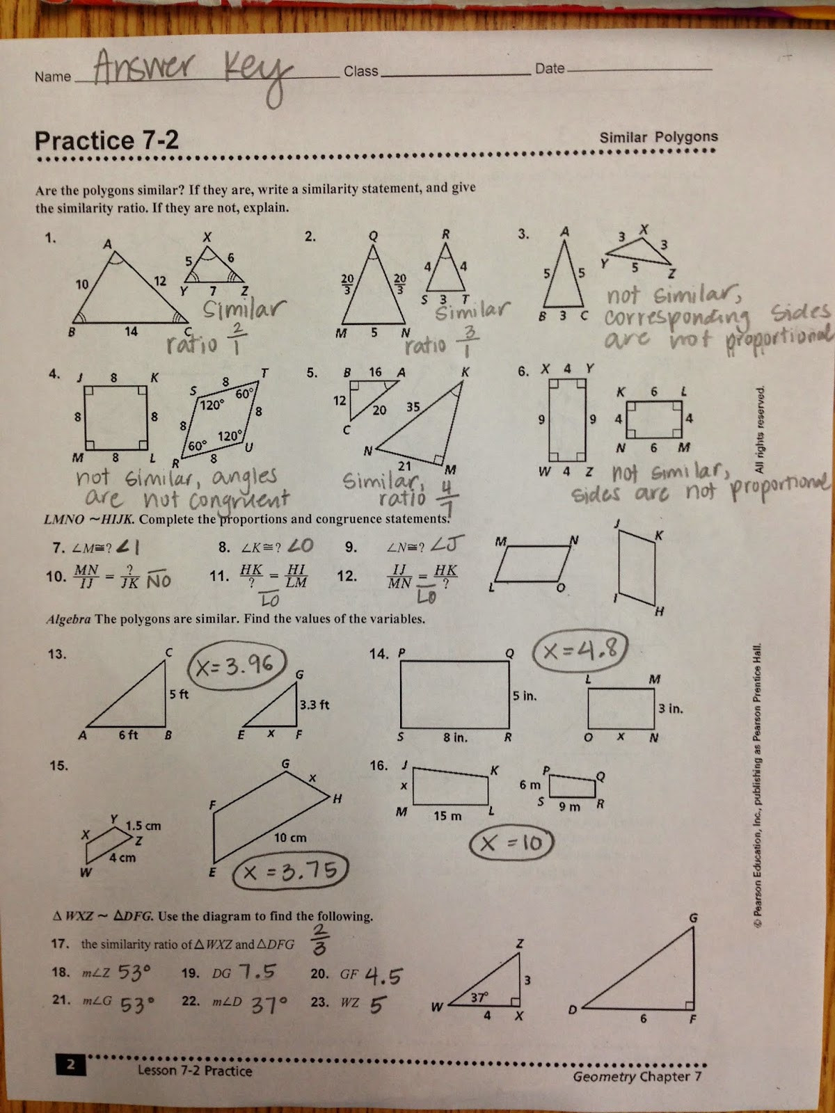 Proving Triangles Similar Worksheet