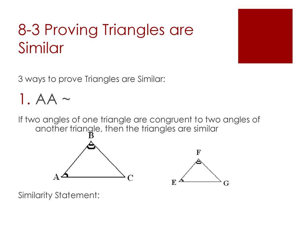 Proving Triangles Similar Worksheet
