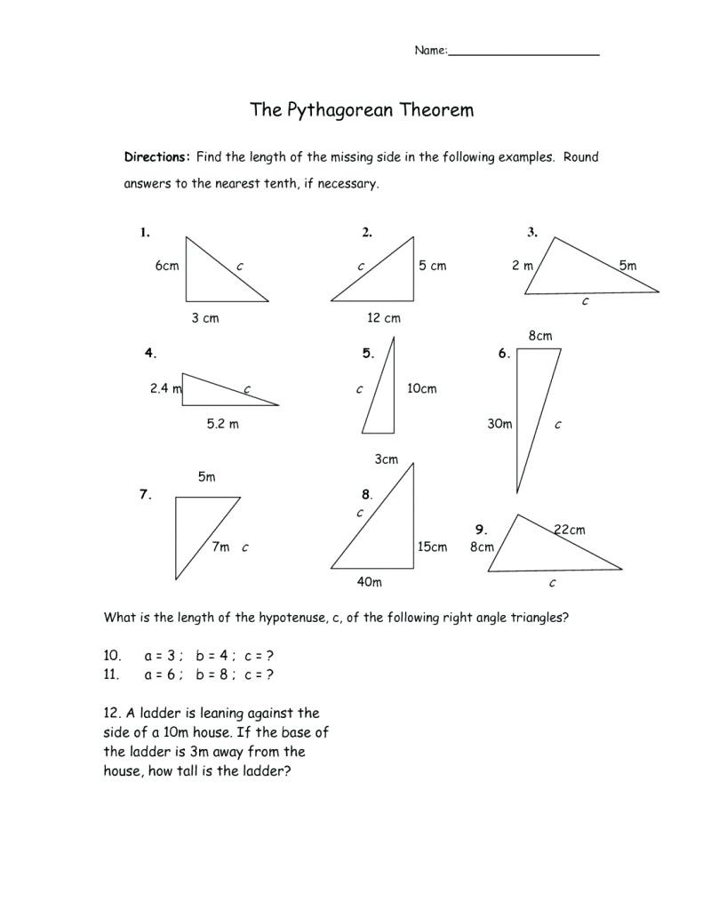 Pythagoras theorem Worksheet with Answers