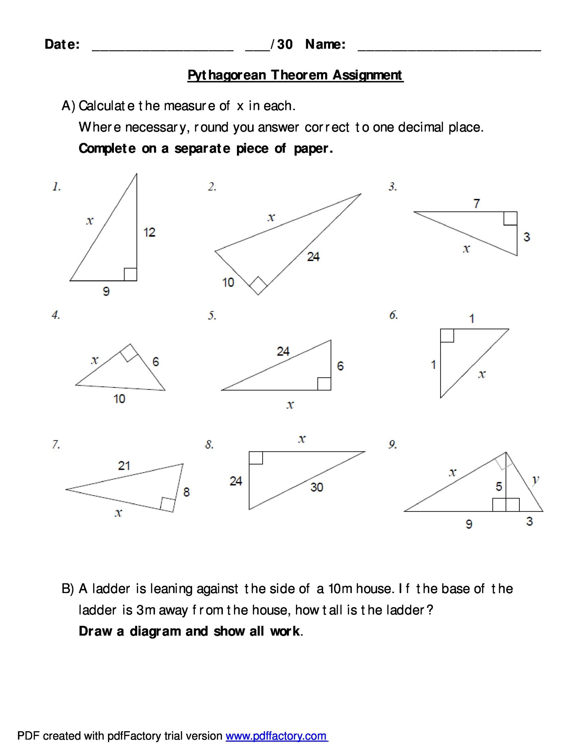 48 Pythagorean Theorem Worksheet with Answers [Word PDF]