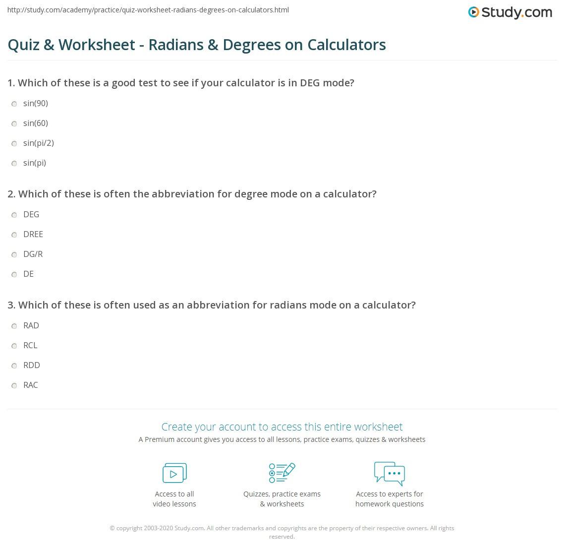Radians to Degrees Worksheet