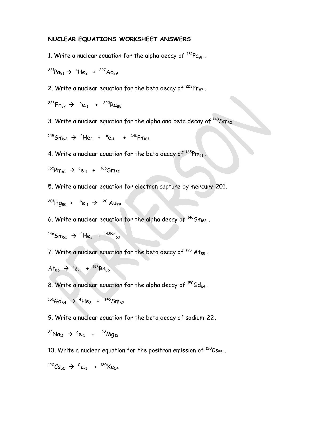 Radioactive Decay Worksheet Answers