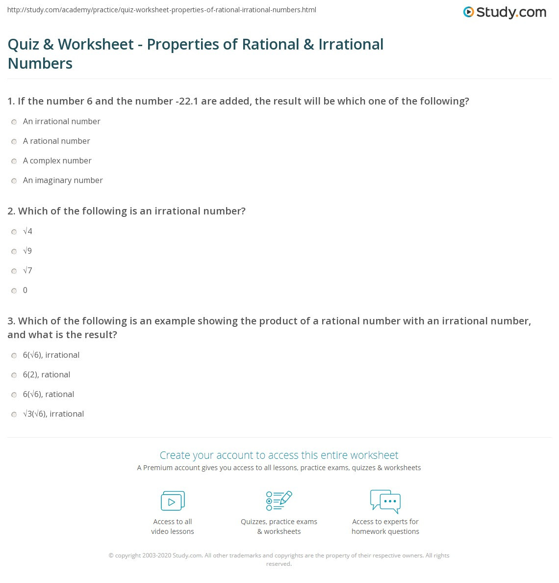 Rational and Irrational Numbers Worksheet