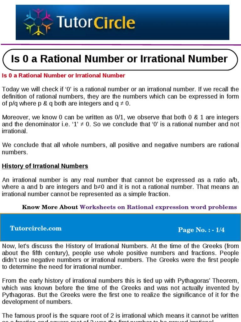 Rational Vs Irrational Numbers Worksheet