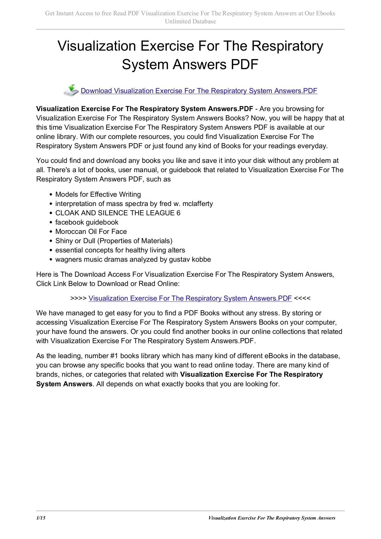 Respiratory System Worksheet Pdf