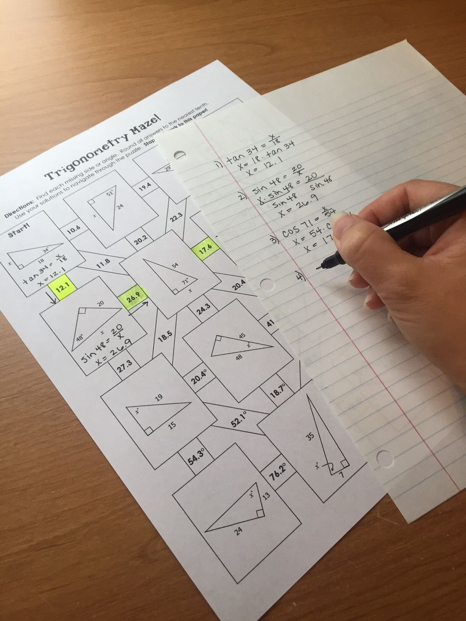 Right Triangle Trig Worksheet Answers