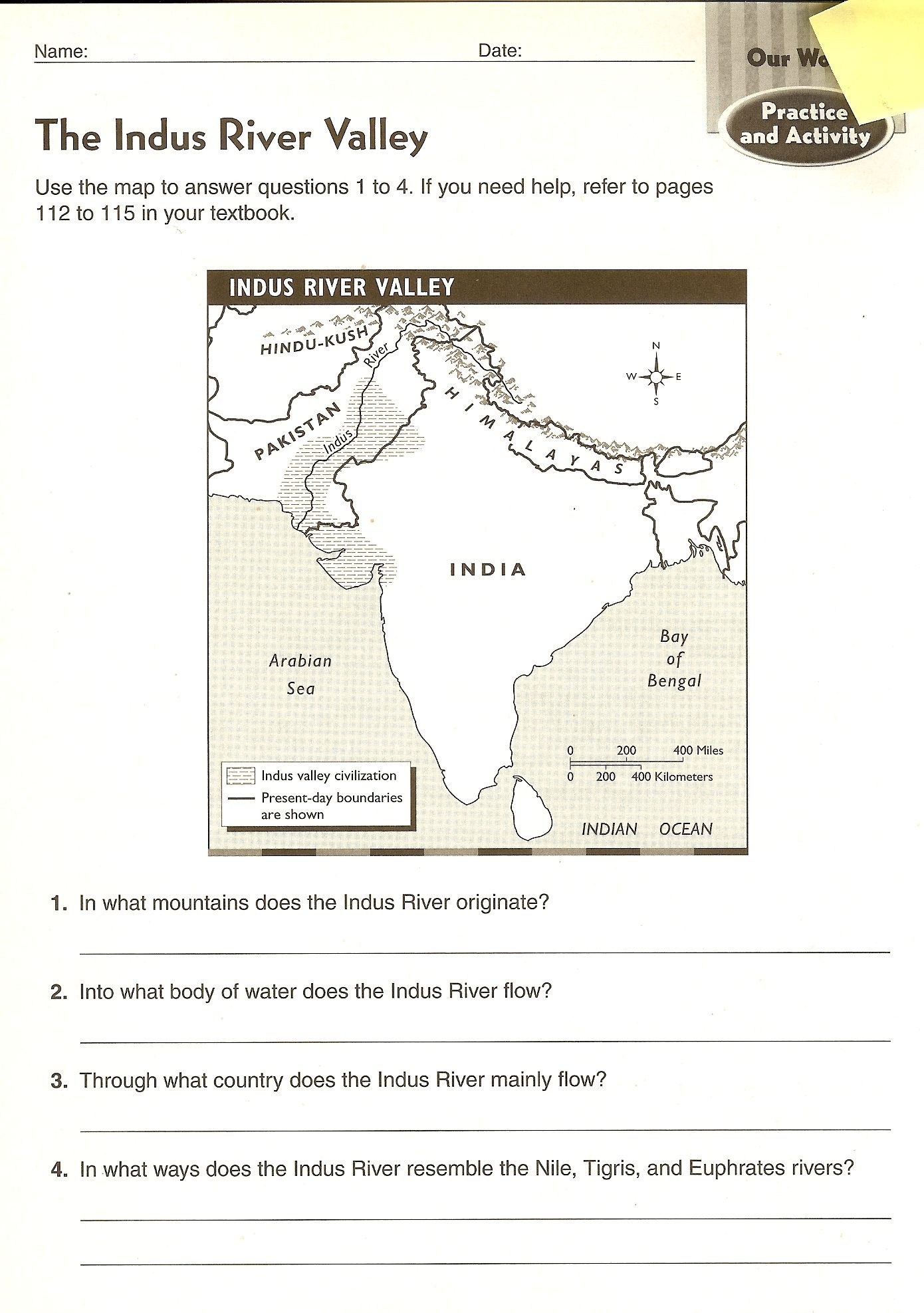 River Valley Civilizations Worksheet Answers