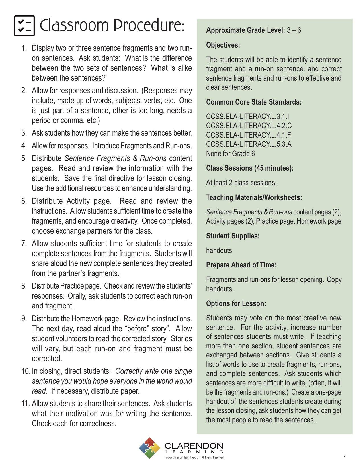 Run On Sentence Worksheet