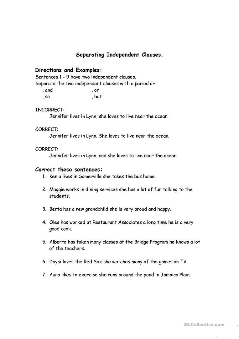 Correcting Run Sentences English ESL Worksheets for