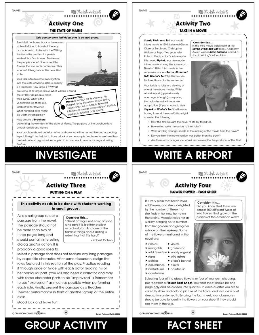 Sarah Plain and Tall Worksheet