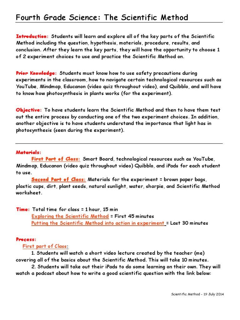 Scientific Method Worksheet 4th Grade