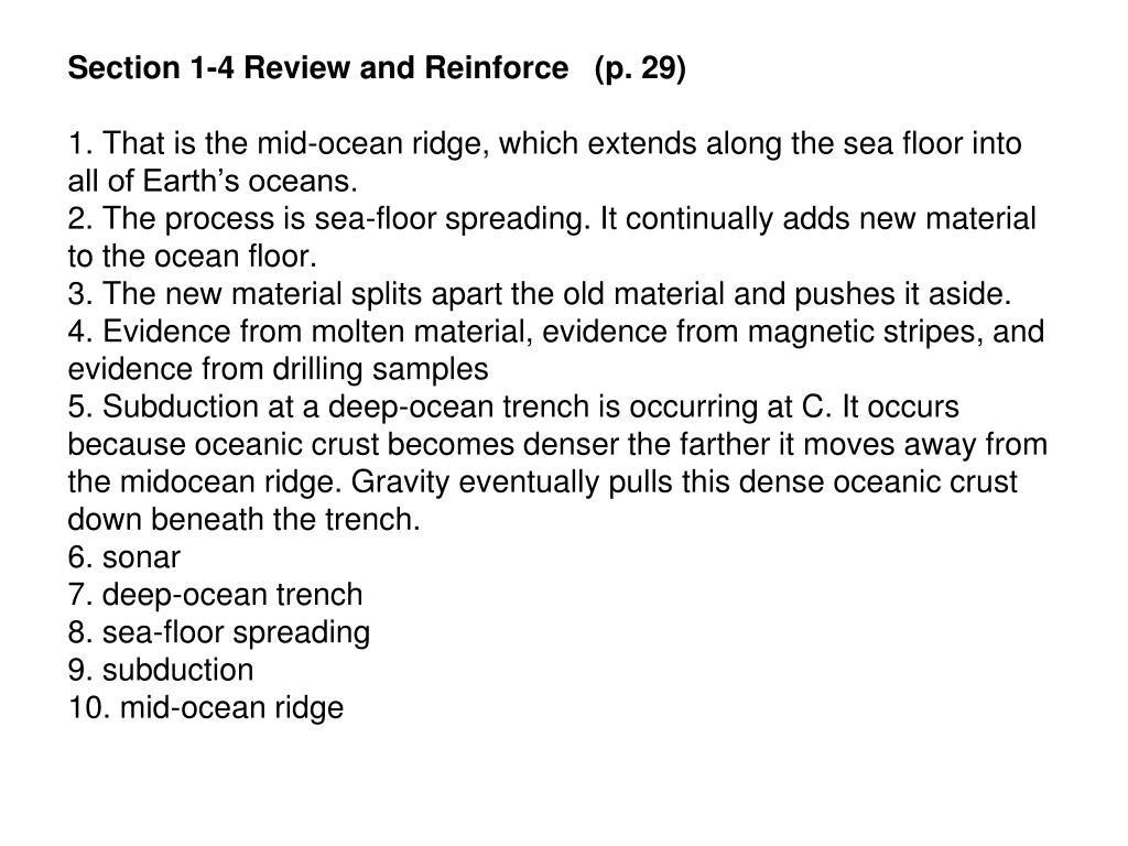 Sea Floor Spreading Worksheet Answer