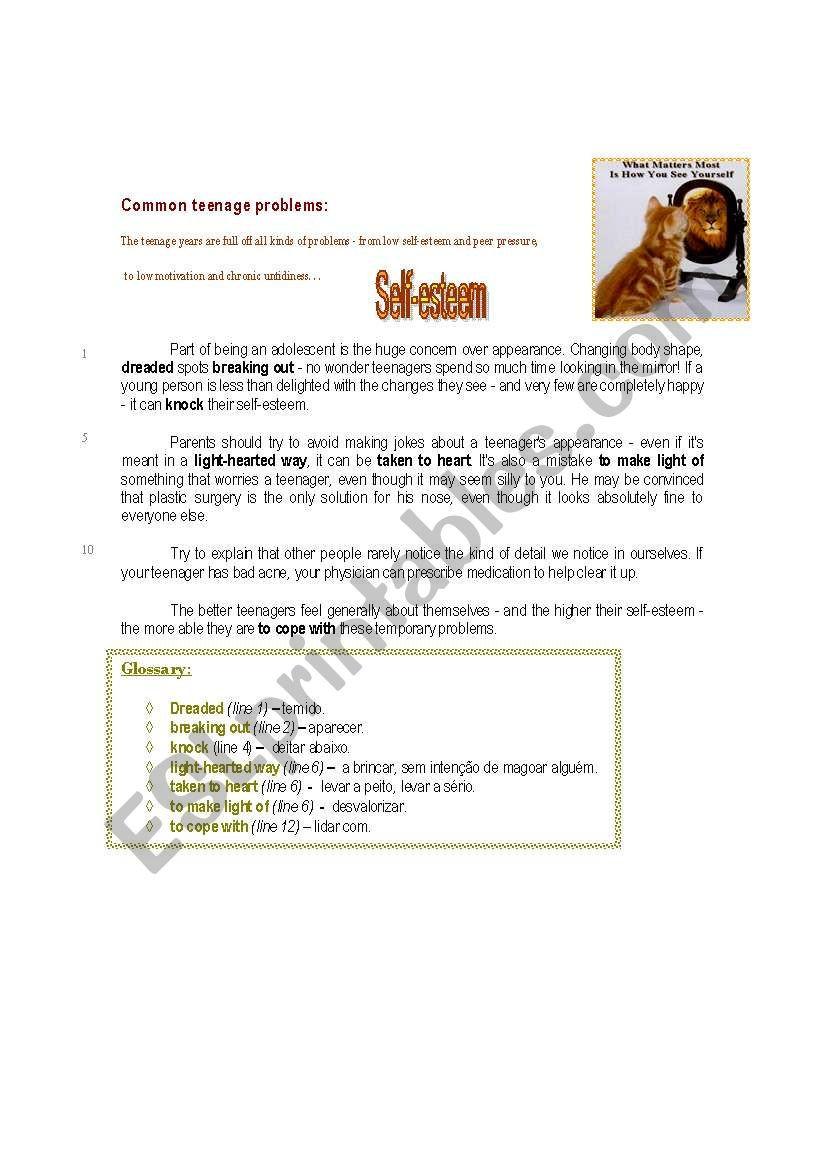 Self Esteem Worksheet for Teens