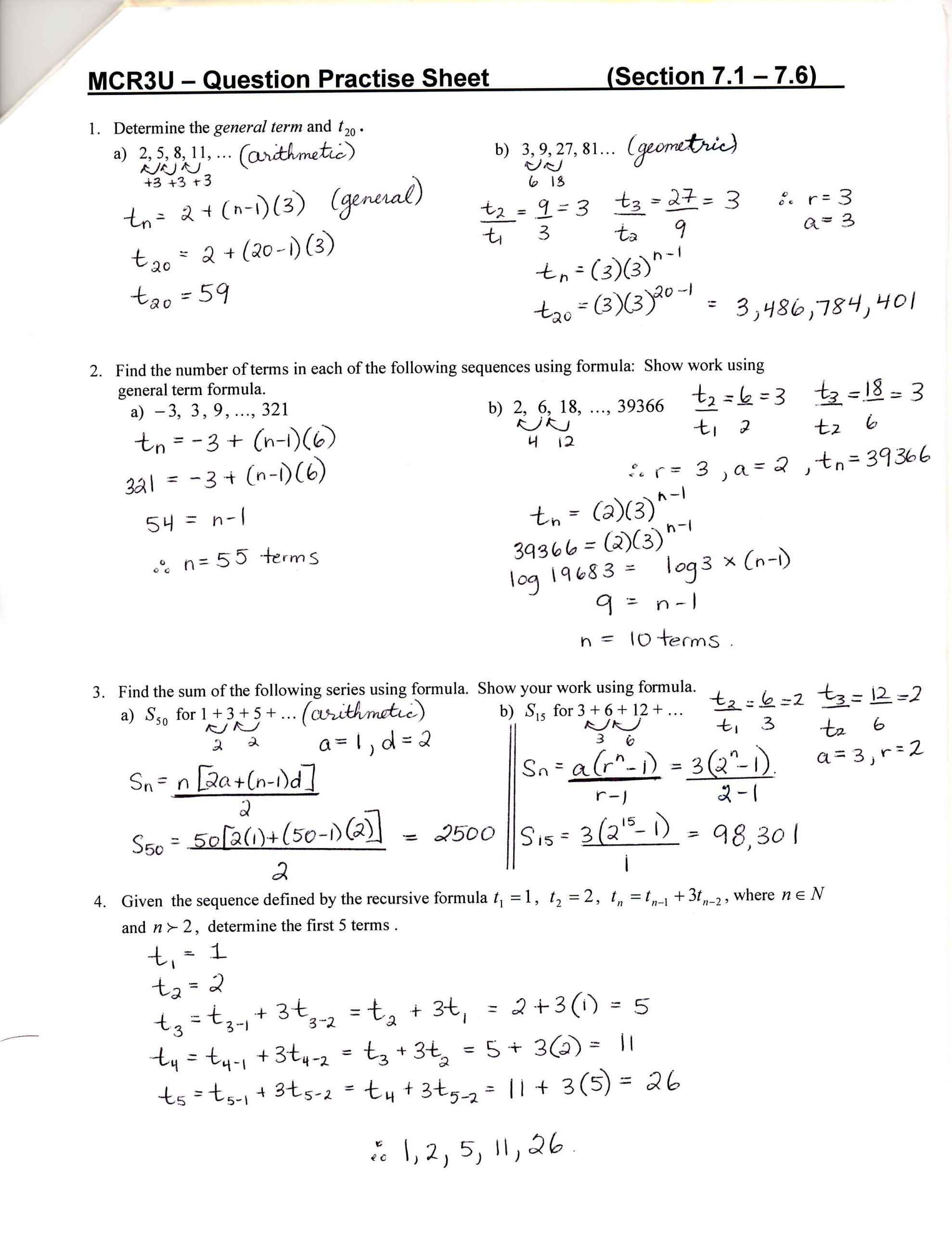Sequences and Series Worksheet Answers