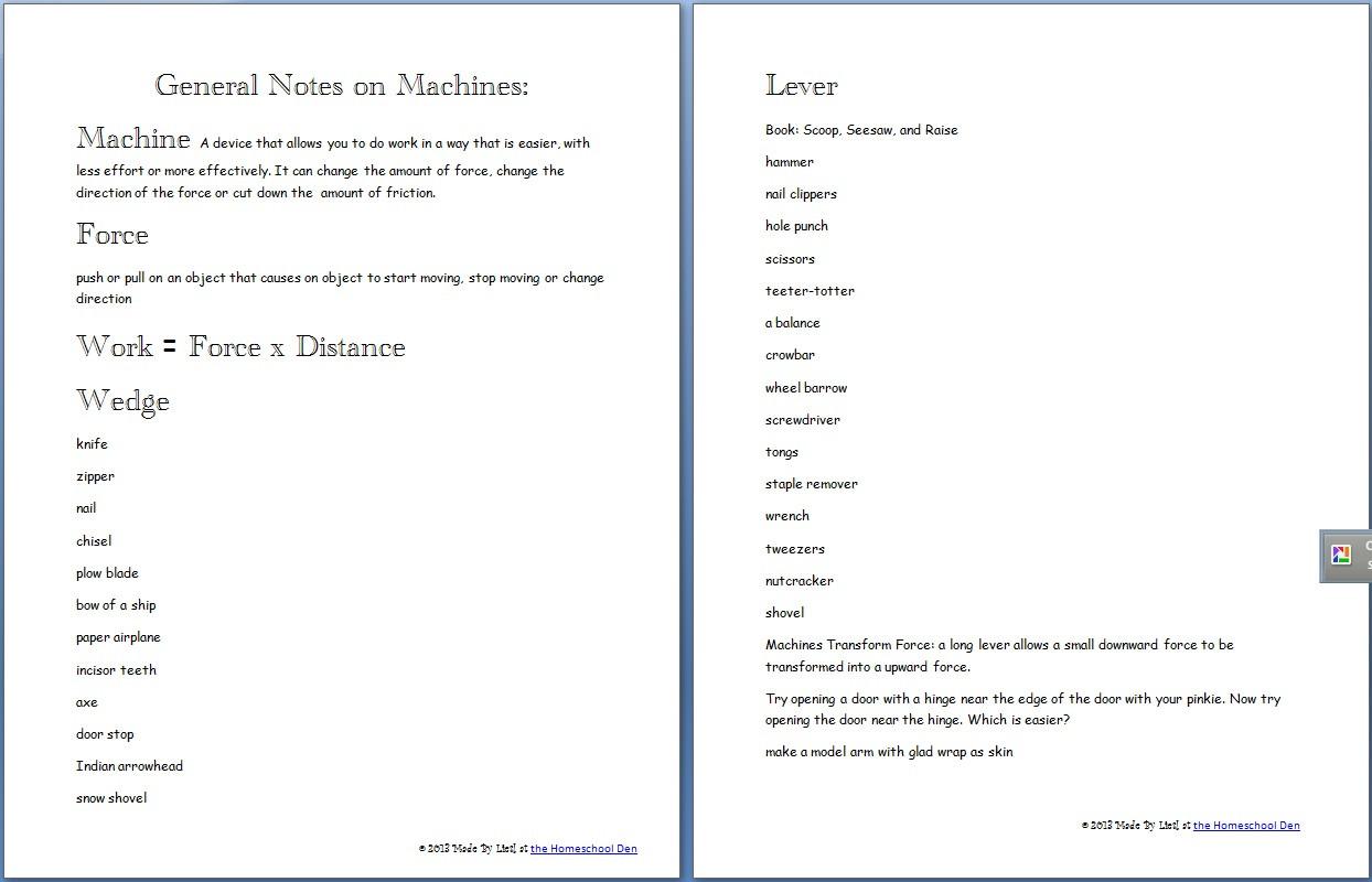 Simple Machines Worksheet Answers